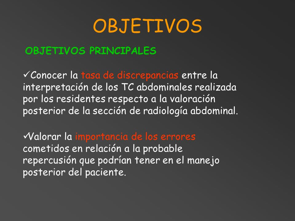 OBJETIVOS OBJETIVOS PRINCIPALES