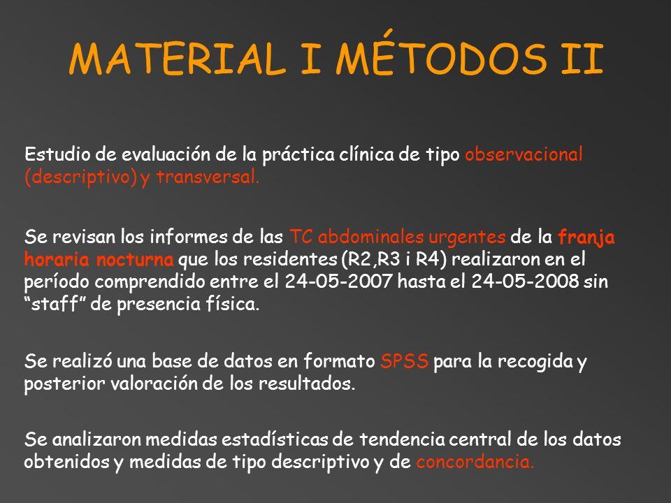 MATERIAL I MÉTODOS II Estudio de evaluación de la práctica clínica de tipo observacional (descriptivo) y transversal.