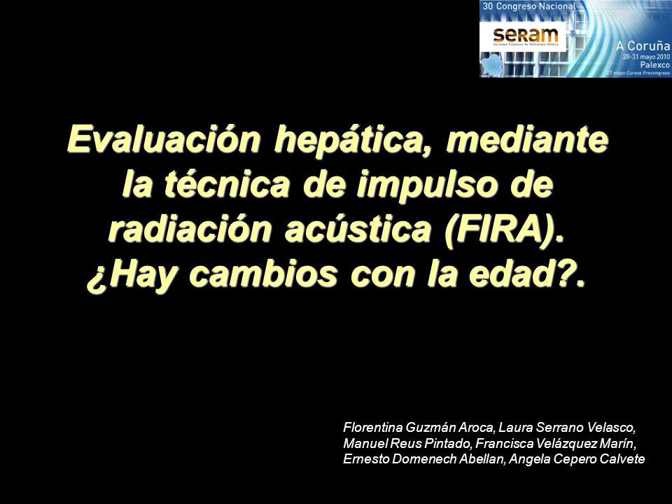 Evaluación hepática, mediante la técnica de impulso de radiación acústica (FIRA). ¿Hay cambios con la edad .