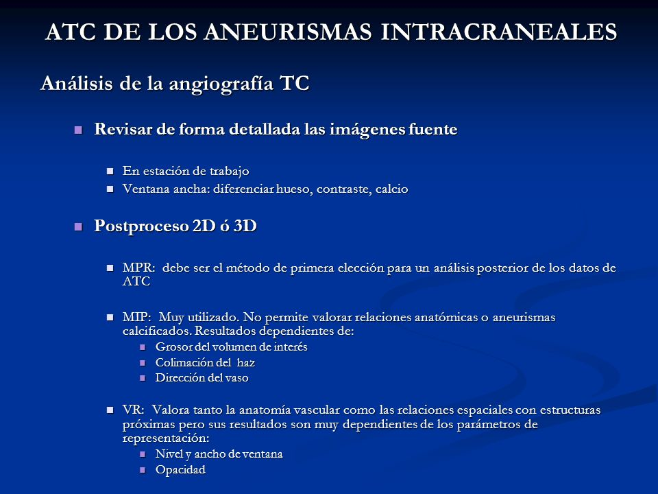 ATC DE LOS ANEURISMAS INTRACRANEALES
