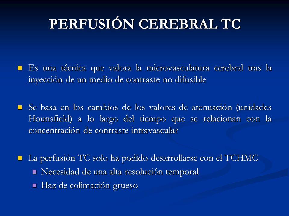 PERFUSIÓN CEREBRAL TC Es una técnica que valora la microvasculatura cerebral tras la inyección de un medio de contraste no difusible.