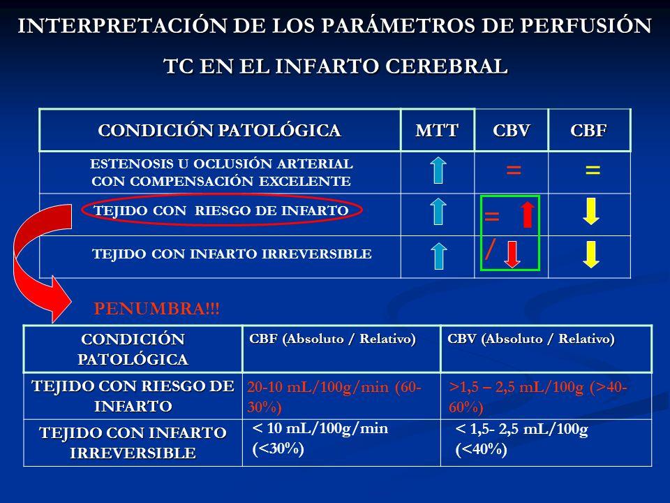 INTERPRETACIÓN DE LOS PARÁMETROS DE PERFUSIÓN TC EN EL INFARTO CEREBRAL