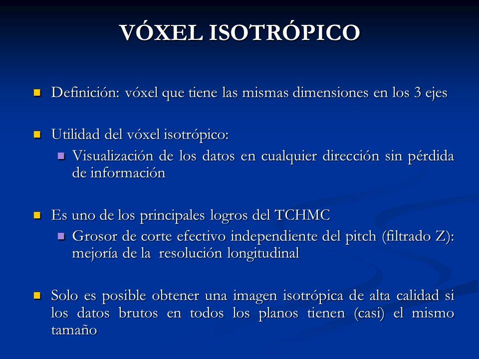 VÓXEL ISOTRÓPICO Definición: vóxel que tiene las mismas dimensiones en los 3 ejes. Utilidad del vóxel isotrópico: