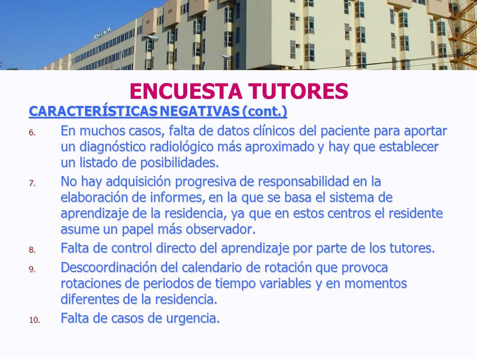 ENCUESTA TUTORES CARACTERÍSTICAS NEGATIVAS (cont.)