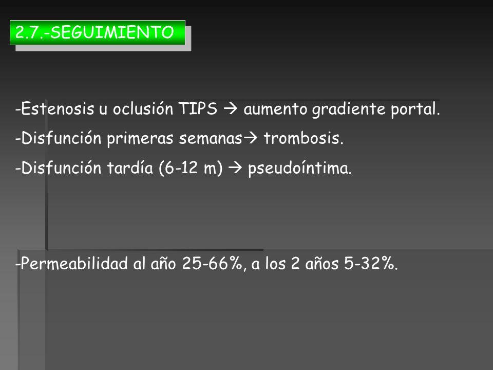 2.7.-SEGUIMIENTO -Estenosis u oclusión TIPS  aumento gradiente portal. -Disfunción primeras semanas trombosis.