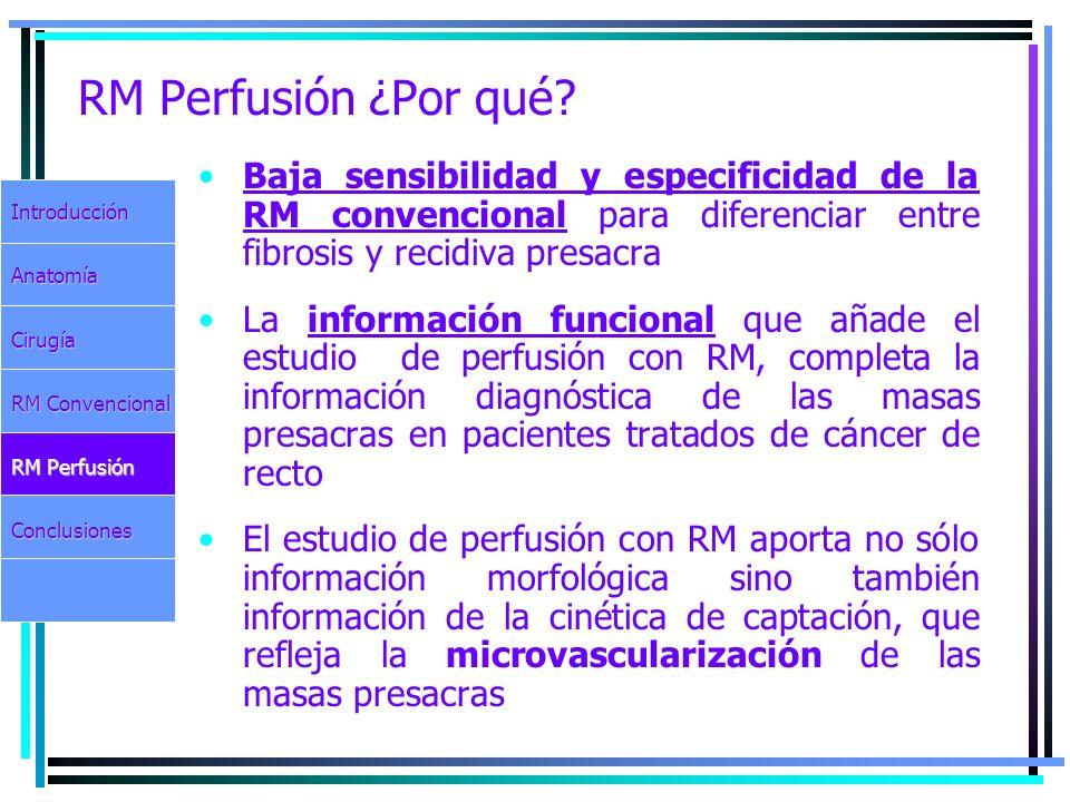 RM Perfusión ¿Por qué Baja sensibilidad y especificidad de la RM convencional para diferenciar entre fibrosis y recidiva presacra.