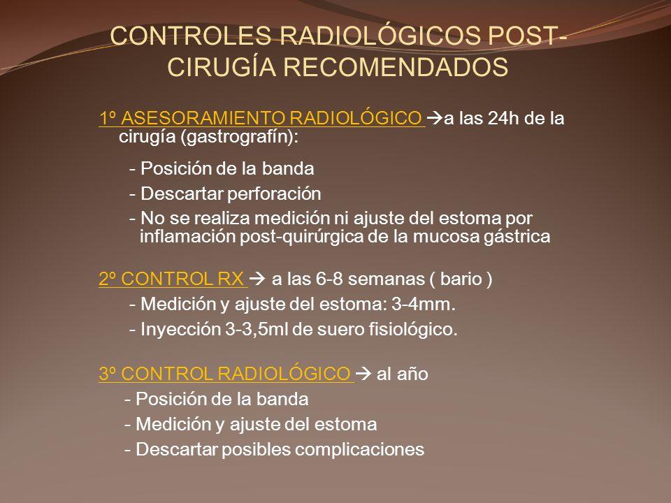 CONTROLES RADIOLÓGICOS POST-CIRUGÍA RECOMENDADOS