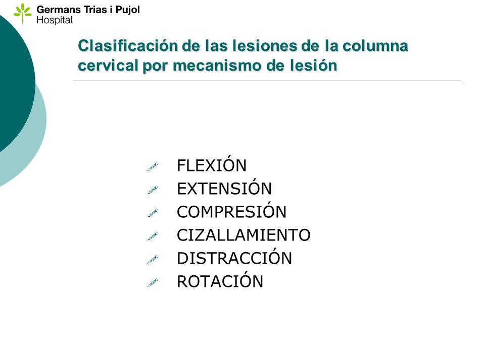 Clasificación de las lesiones de la columna cervical por mecanismo de lesión
