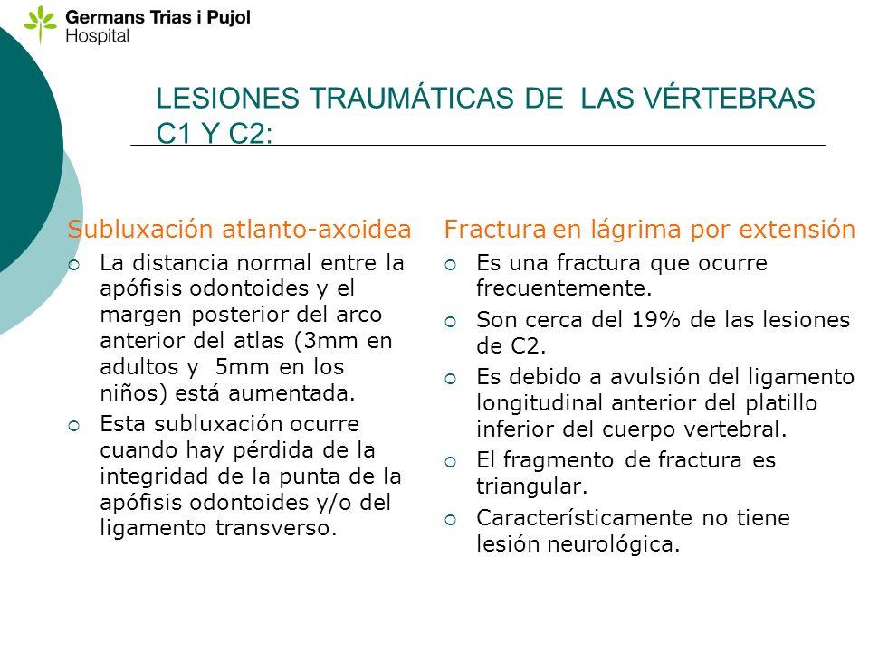 LESIONES TRAUMÁTICAS DE LAS VÉRTEBRAS C1 Y C2:
