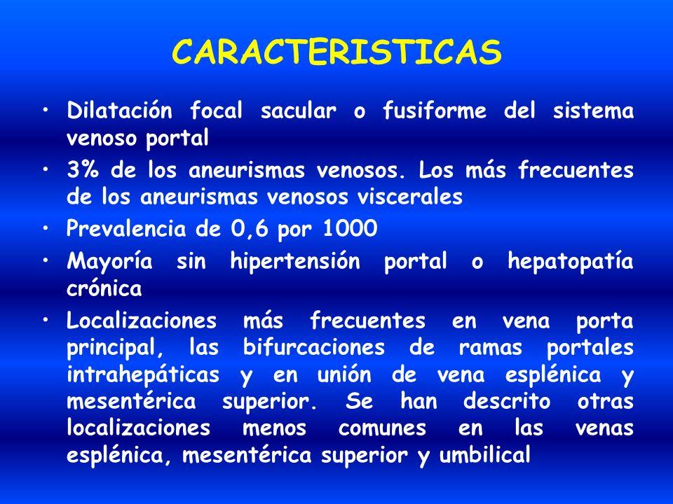 CARACTERISTICAS Dilatación focal sacular o fusiforme del sistema venoso portal.