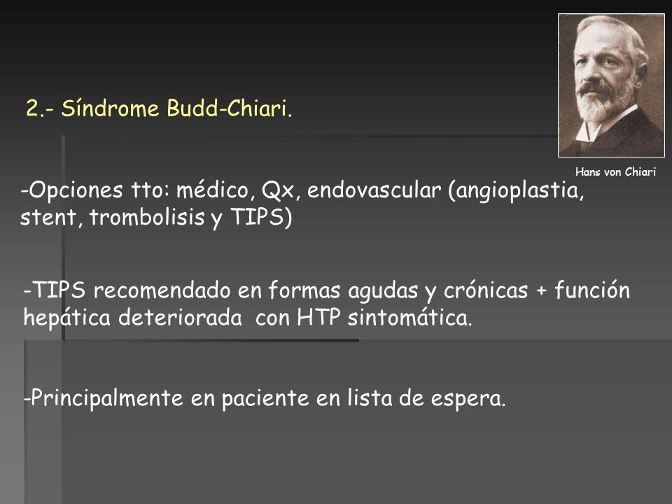 2.- Síndrome Budd-Chiari.