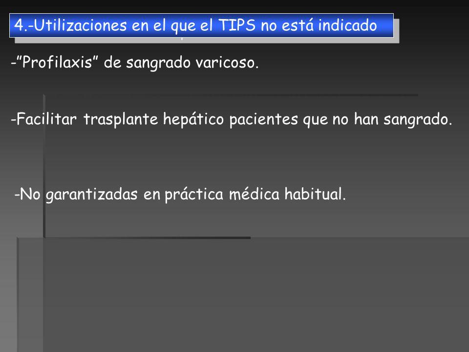 4.-Utilizaciones en el que el TIPS no está indicado