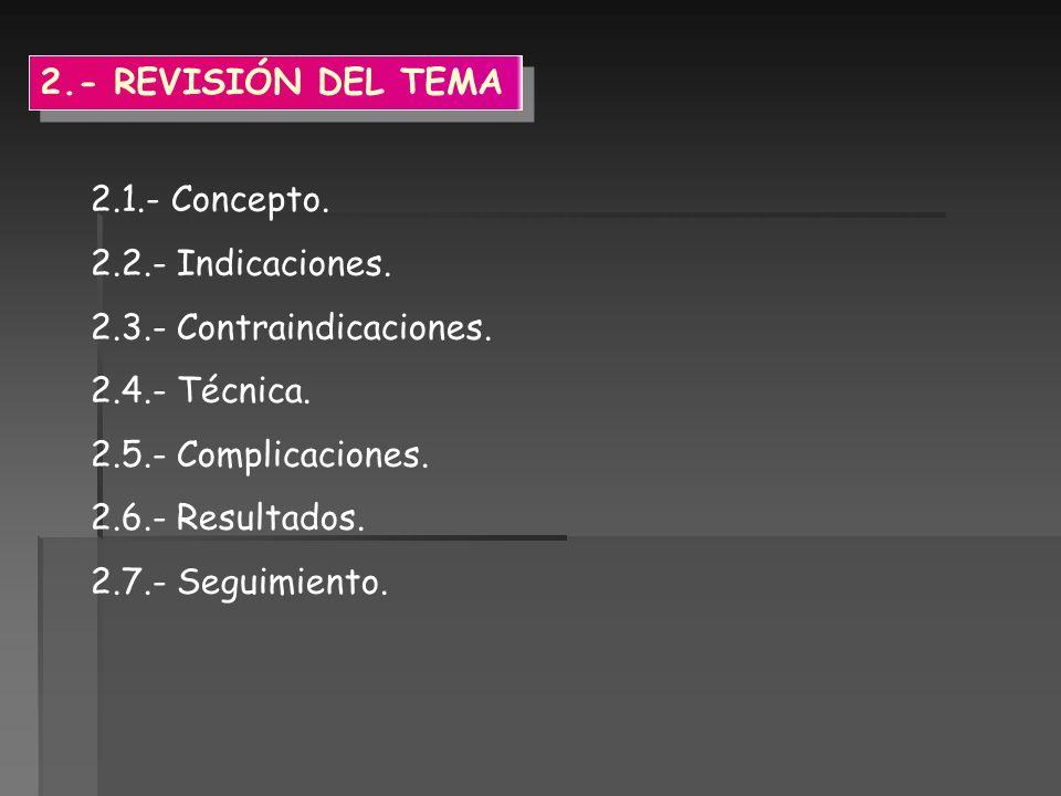 2.- REVISIÓN DEL TEMA 2.1.- Concepto. 2.2.- Indicaciones. 2.3.- Contraindicaciones. 2.4.- Técnica.