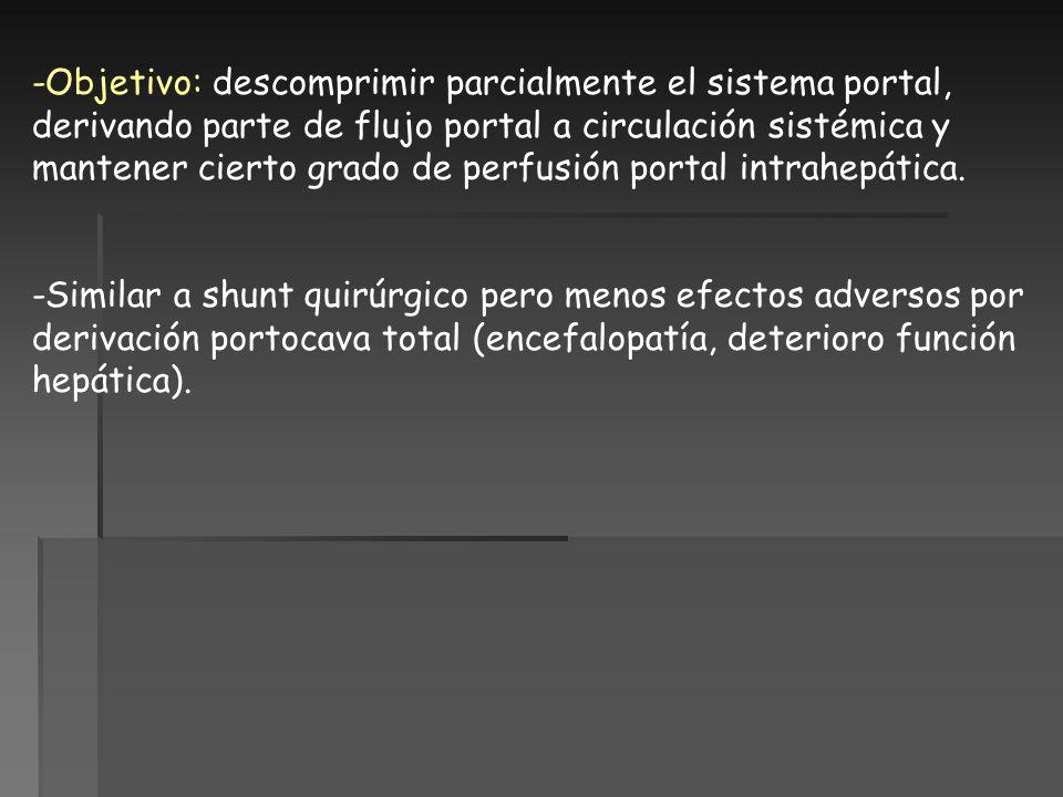 -Objetivo: descomprimir parcialmente el sistema portal, derivando parte de flujo portal a circulación sistémica y mantener cierto grado de perfusión portal intrahepática.