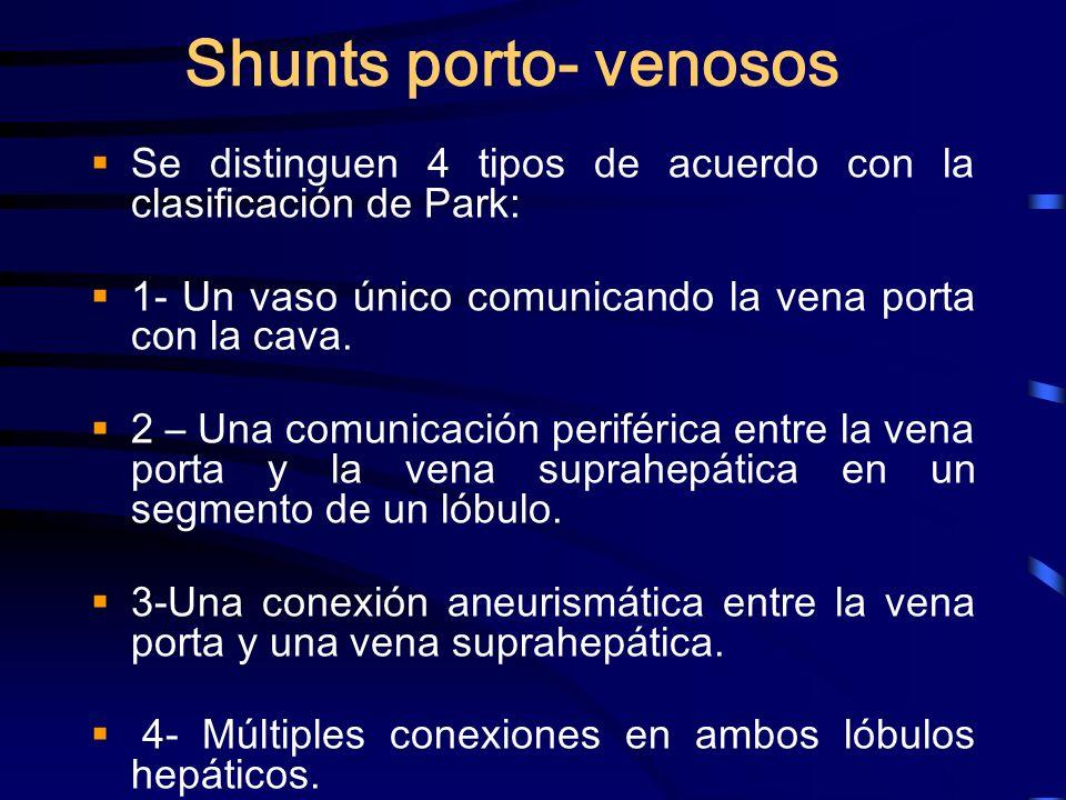 Shunts porto- venososSe distinguen 4 tipos de acuerdo con la clasificación de Park: 1- Un vaso único comunicando la vena porta con la cava.