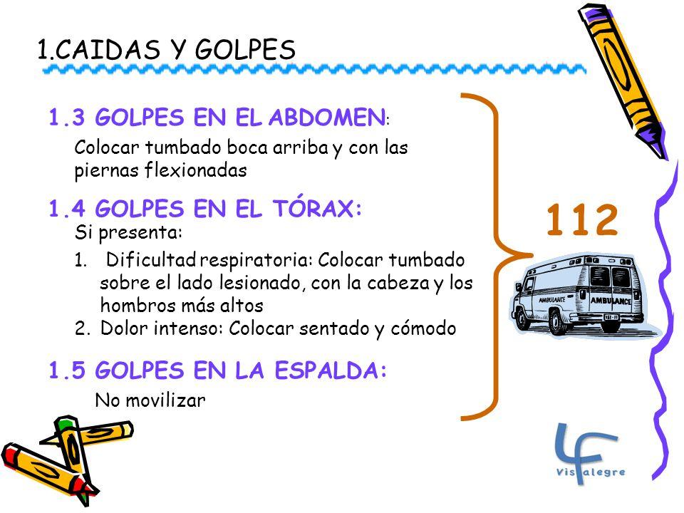 112 1.CAIDAS Y GOLPES 1.3 GOLPES EN EL ABDOMEN: