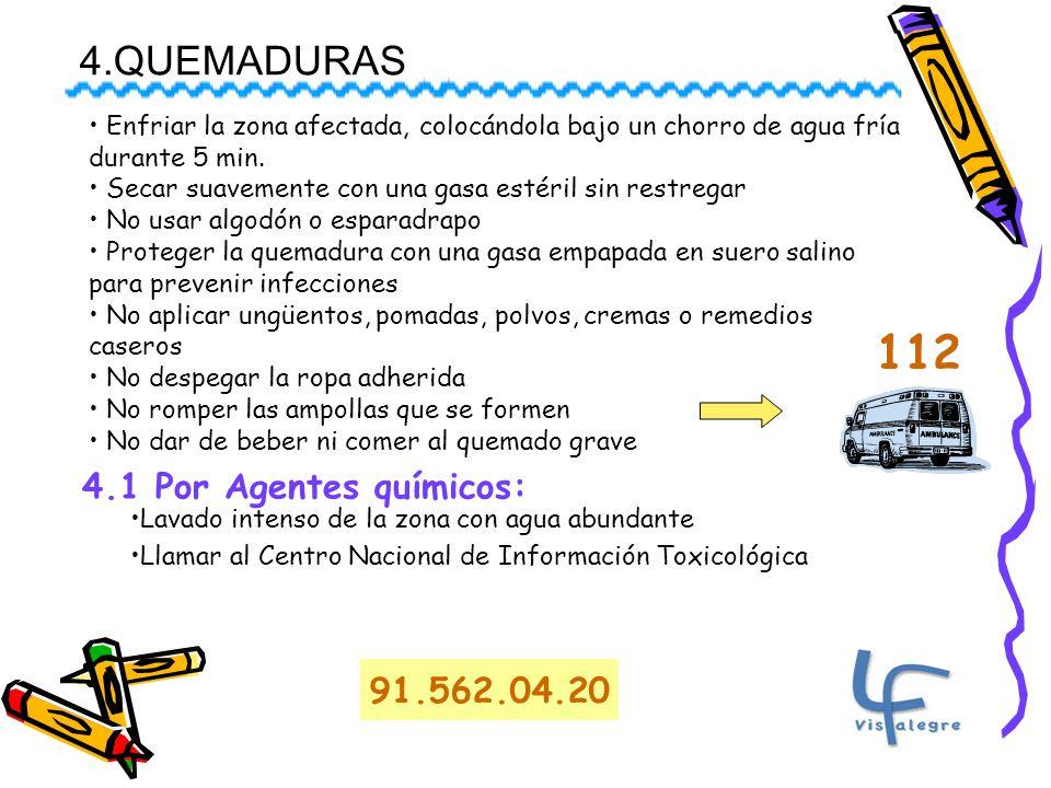 112 4.QUEMADURAS 4.1 Por Agentes químicos: 91.562.04.20