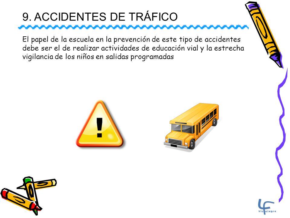 9. ACCIDENTES DE TRÁFICO El papel de la escuela en la prevención de este tipo de accidentes.