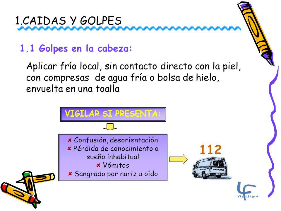 112 1.CAIDAS Y GOLPES 1.1 Golpes en la cabeza: