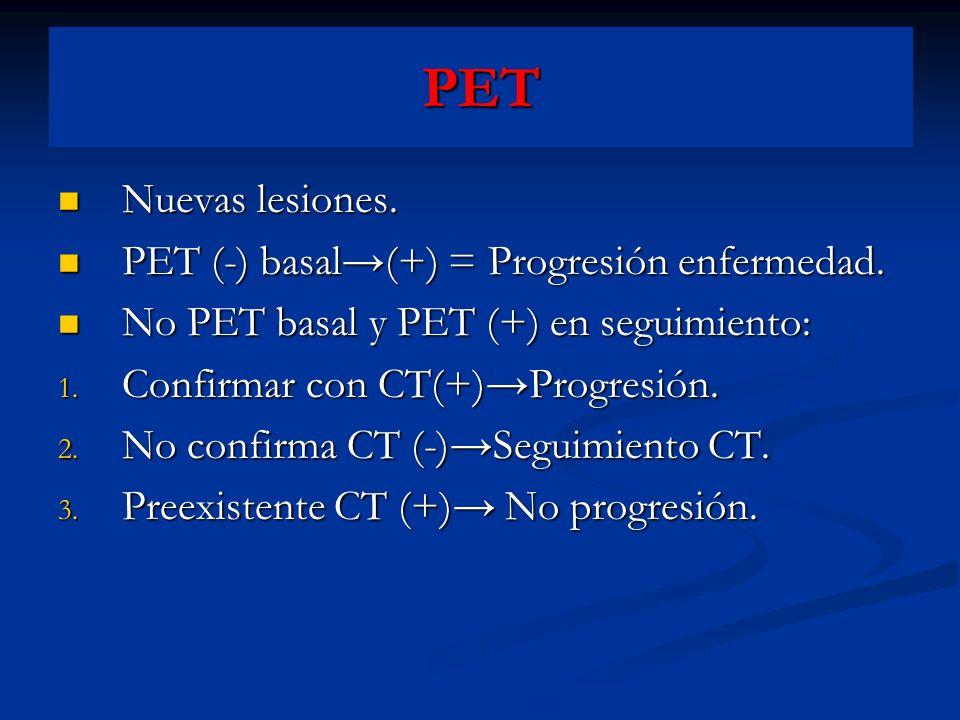 PET Nuevas lesiones. PET (-) basal→(+) = Progresión enfermedad.