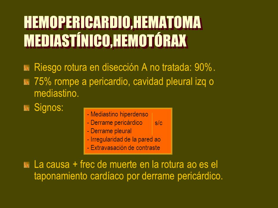 HEMOPERICARDIO,HEMATOMA MEDIASTÍNICO,HEMOTÓRAX