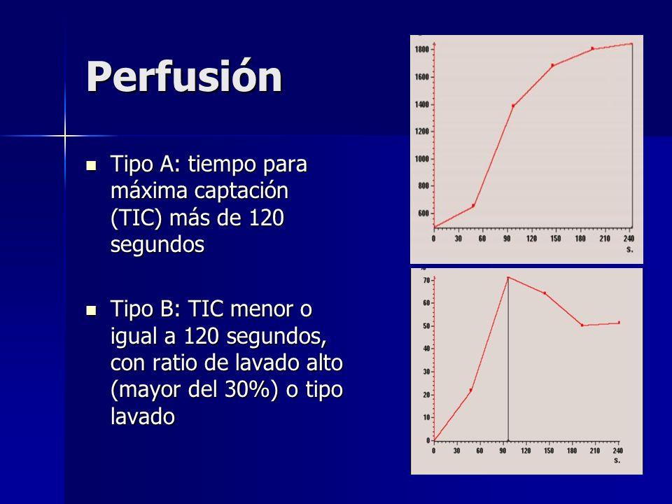 Perfusión Tipo A: tiempo para máxima captación (TIC) más de 120 segundos.