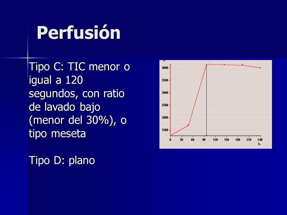 Perfusión Tipo C: TIC menor o igual a 120 segundos, con ratio de lavado bajo (menor del 30%), o tipo meseta.