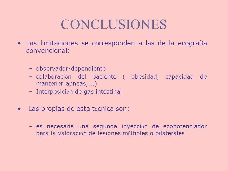 CONCLUSIONESLas limitaciones se corresponden a las de la ecografía convencional: observador-dependiente.