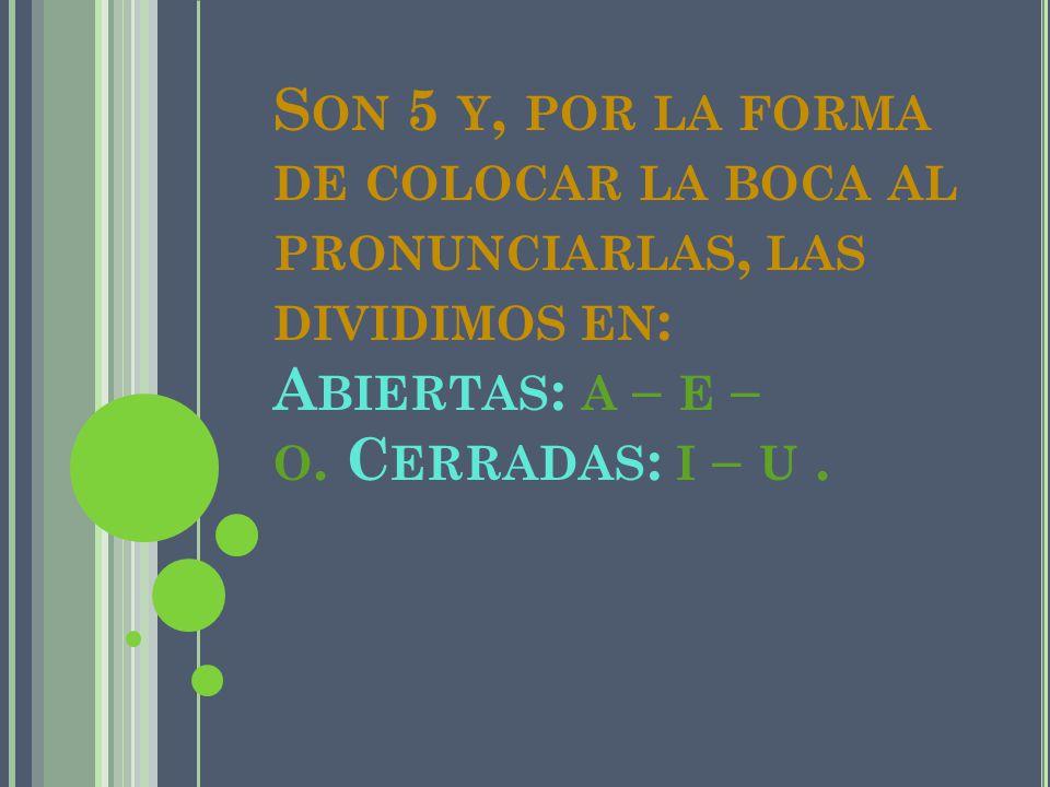Son 5 y, por la forma de colocar la boca al pronunciarlas, las dividimos en: Abiertas: a – e – o. Cerradas: i – u .