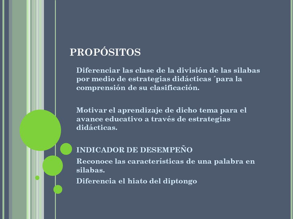propósitos Diferenciar las clase de la división de las silabas por medio de estrategias didácticas ´para la comprensión de su clasificación.