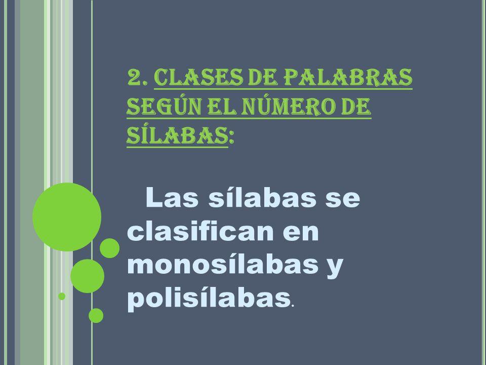 2. CLASES DE PALABRAS SEGÚN EL NÚMERO DE SÍLABAS: