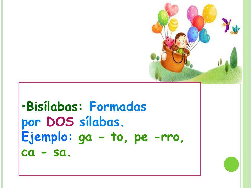 Bisílabas: Formadas por DOS sílabas.