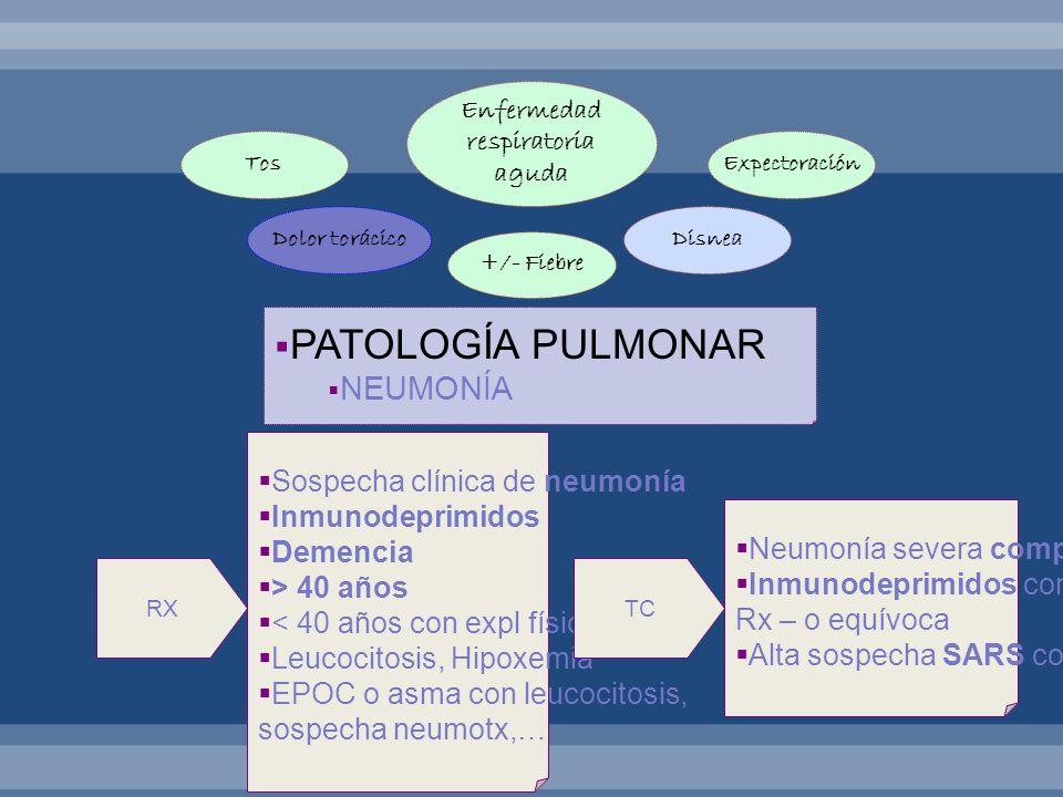 PATOLOGÍA PULMONAR NEUMONÍA Sospecha clínica de neumonía