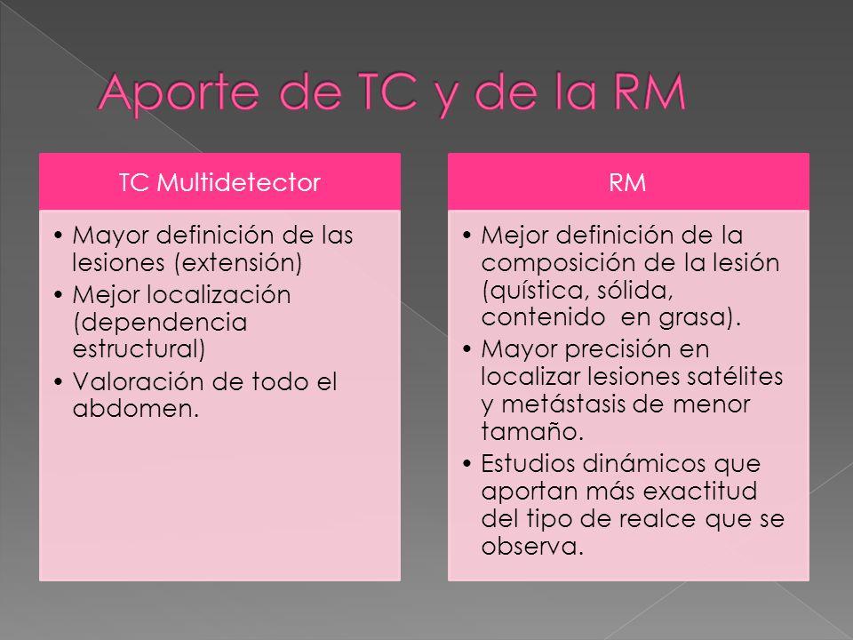 Aporte de TC y de la RM TC Multidetector