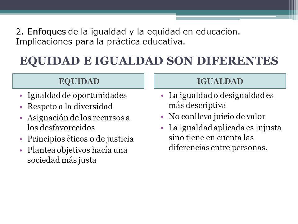 EQUIDAD E IGUALDAD SON DIFERENTES