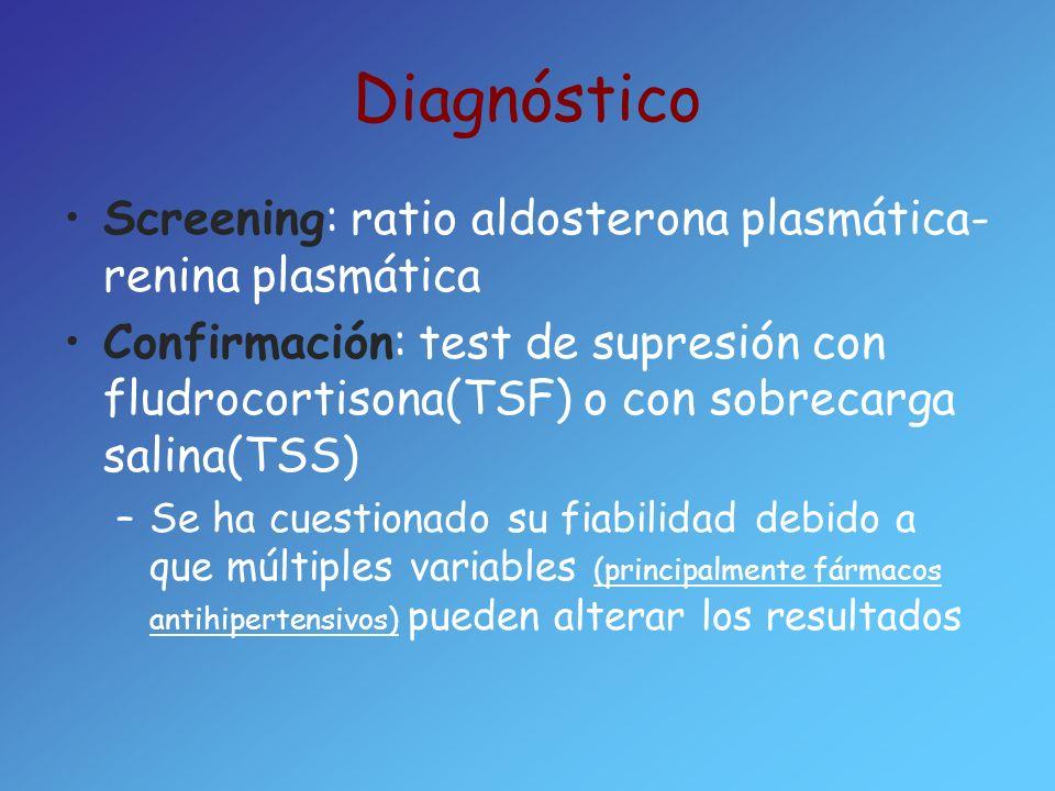 Diagnóstico Screening: ratio aldosterona plasmática-renina plasmática