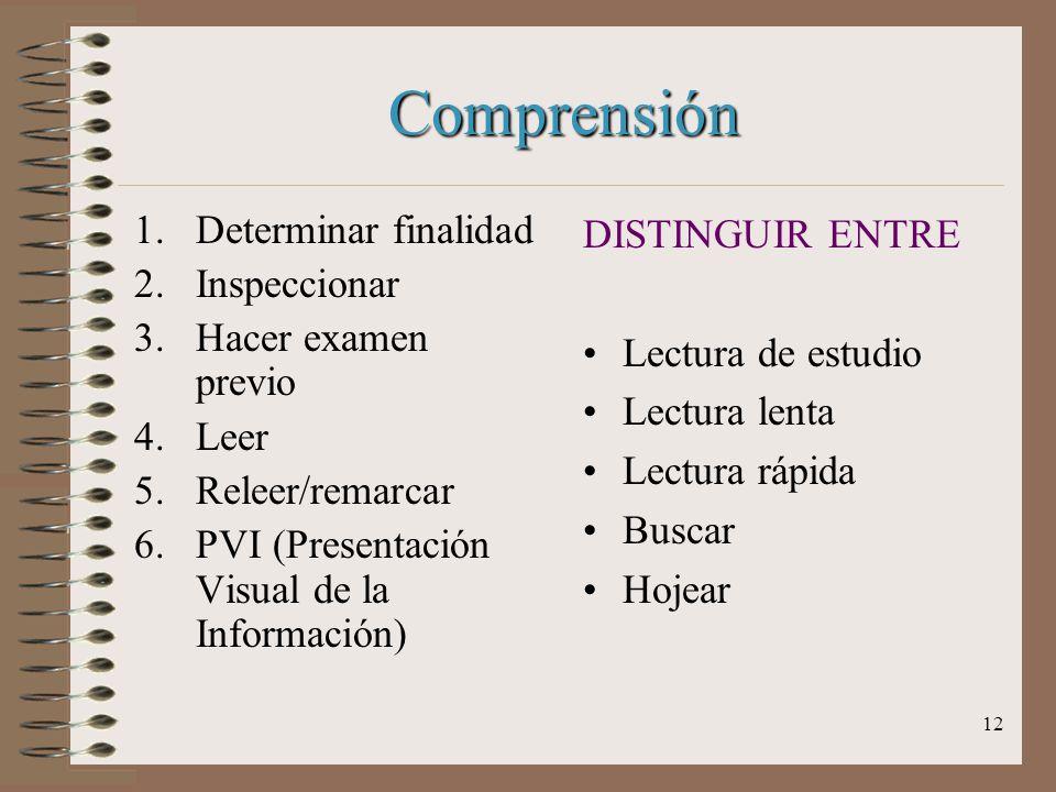 Comprensión Determinar finalidad Inspeccionar Hacer examen previo Leer