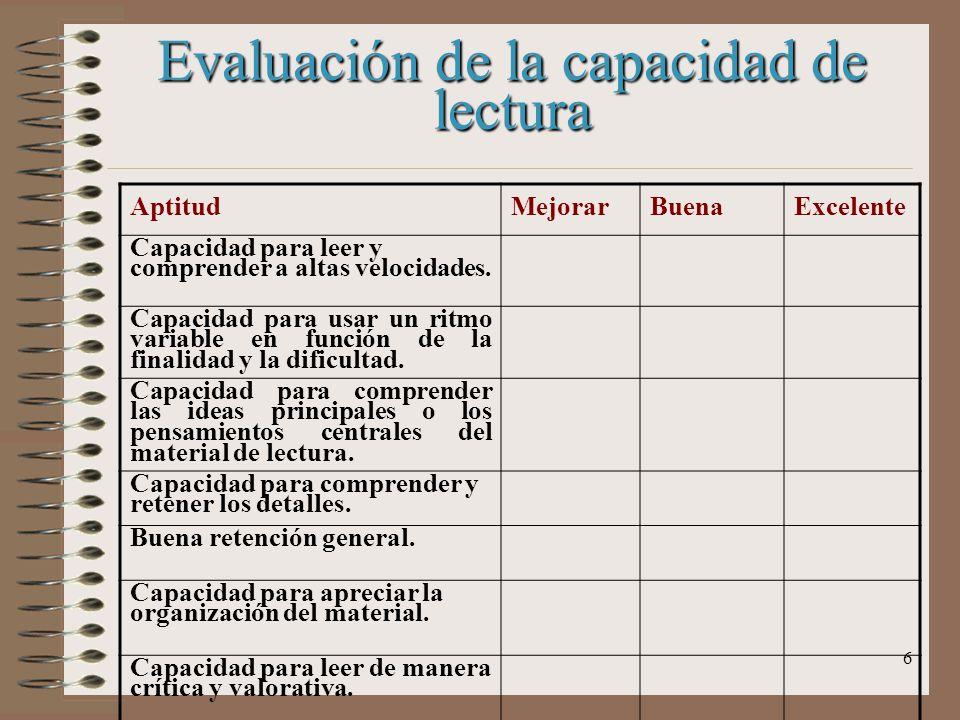 Evaluación de la capacidad de lectura