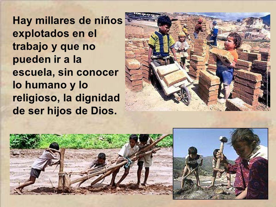 Hay millares de niños explotados en el trabajo y que no pueden ir a la escuela, sin conocer lo humano y lo religioso, la dignidad de ser hijos de Dios.