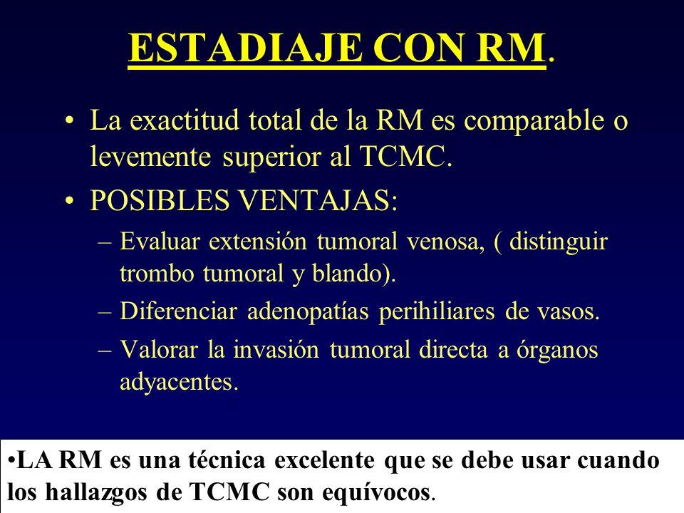 ESTADIAJE CON RM. La exactitud total de la RM es comparable o levemente superior al TCMC. POSIBLES VENTAJAS: