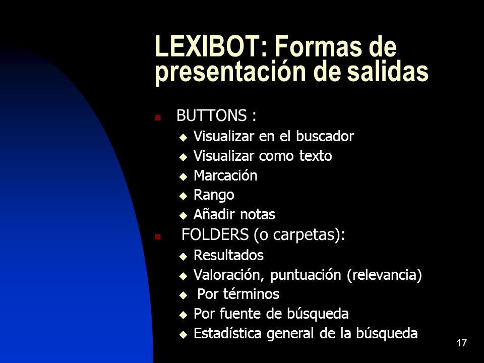 LEXIBOT: Formas de presentación de salidas