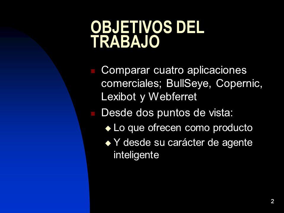 OBJETIVOS DEL TRABAJO Comparar cuatro aplicaciones comerciales; BullSeye, Copernic, Lexibot y Webferret.