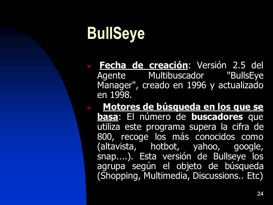 BullSeye Fecha de creación: Versión 2.5 del Agente Multibuscador BullsEye Manager , creado en 1996 y actualizado en 1998.