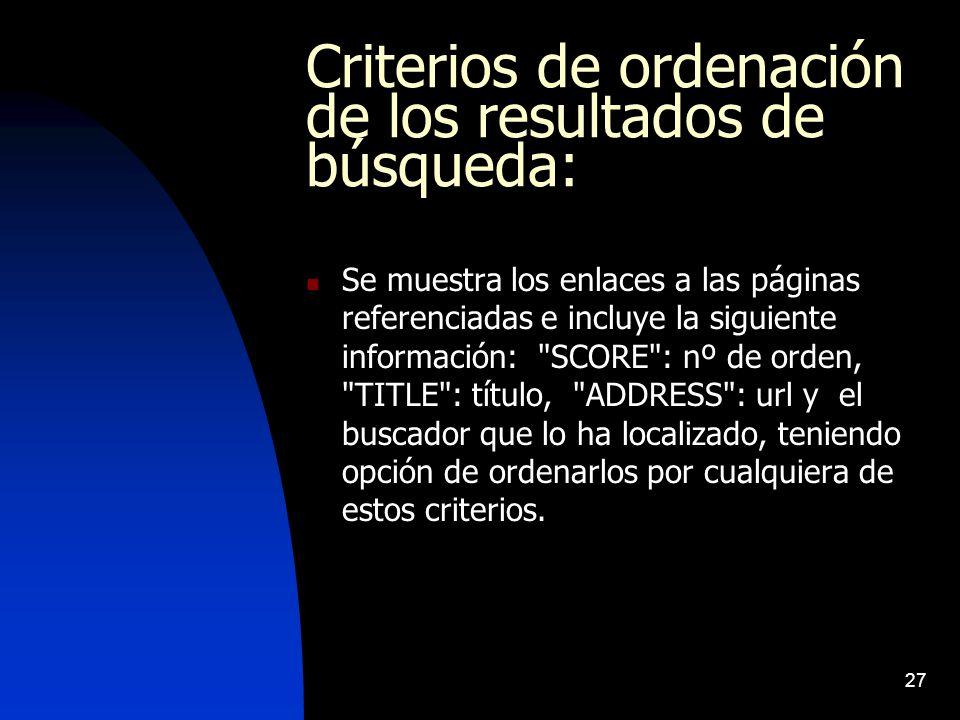 Criterios de ordenación de los resultados de búsqueda:
