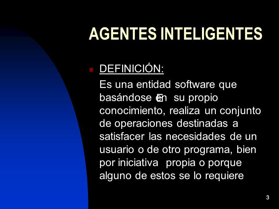 AGENTES INTELIGENTES DEFINICIÓN: