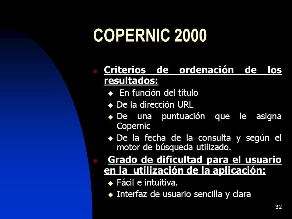 COPERNIC 2000 Criterios de ordenación de los resultados: