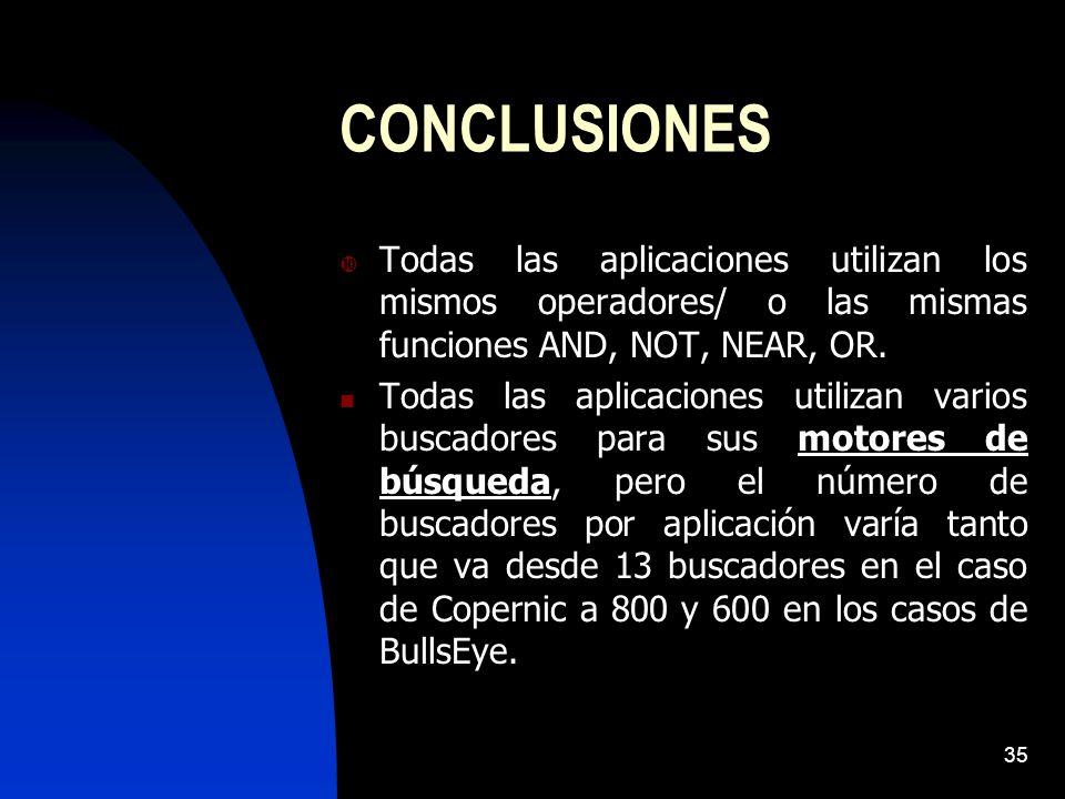 CONCLUSIONES Todas las aplicaciones utilizan los mismos operadores/ o las mismas funciones AND, NOT, NEAR, OR.