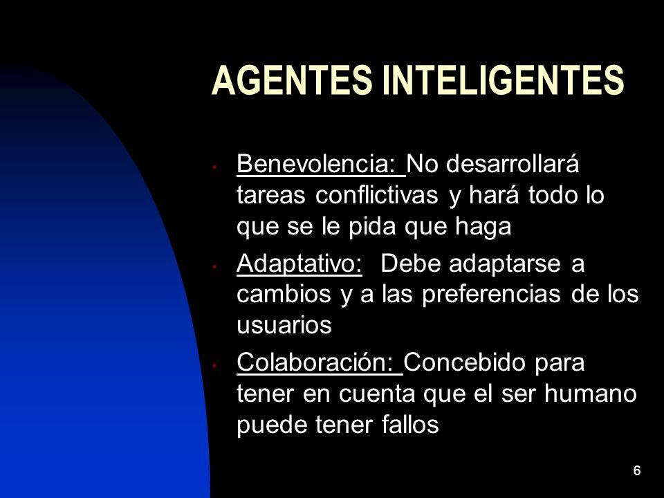 AGENTES INTELIGENTES Benevolencia: No desarrollará tareas conflictivas y hará todo lo que se le pida que haga.