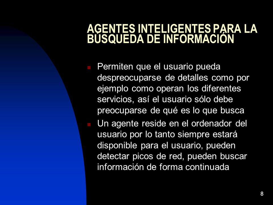 AGENTES INTELIGENTES PARA LA BÚSQUEDA DE INFORMACIÓN