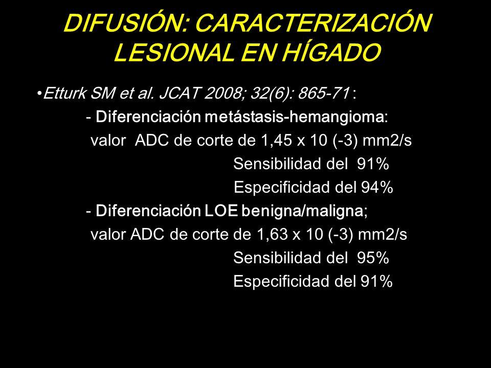 DIFUSIÓN: CARACTERIZACIÓN LESIONAL EN HÍGADO